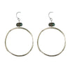 Large Circle Earring in Silver and Labradorite