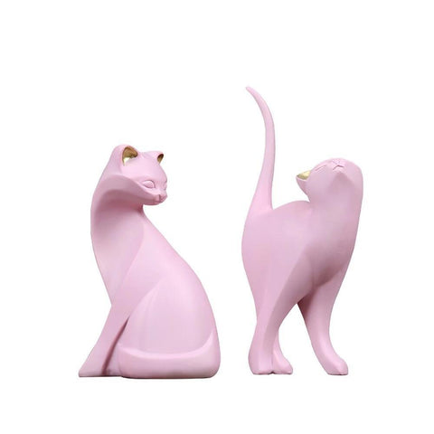statuettes chats rose