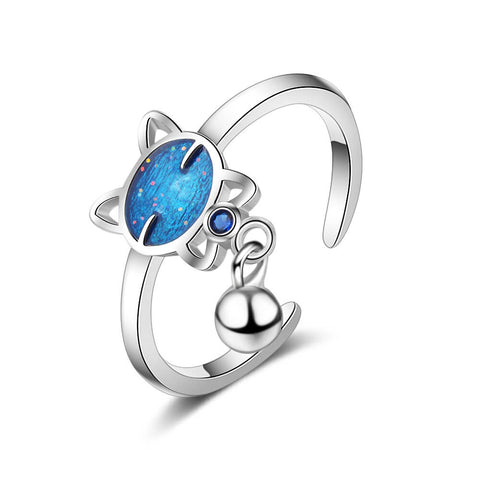 bague chat bleue