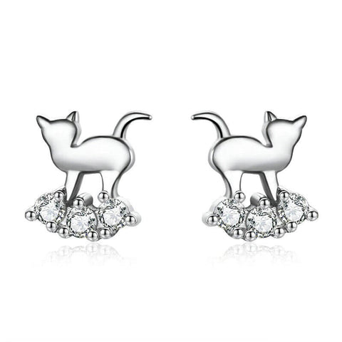 boucles d'oreilles chat lit diamants