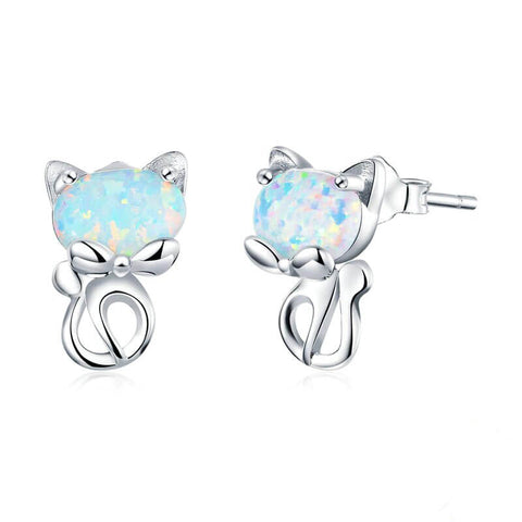 boucles d'oreilles chat pierre multicolore