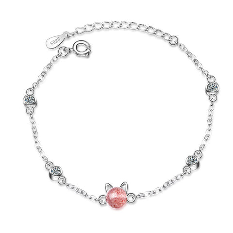 bracelet chat pierre rose