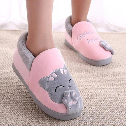 chausson chat rose gris
