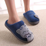 chausson patte de chat bleu