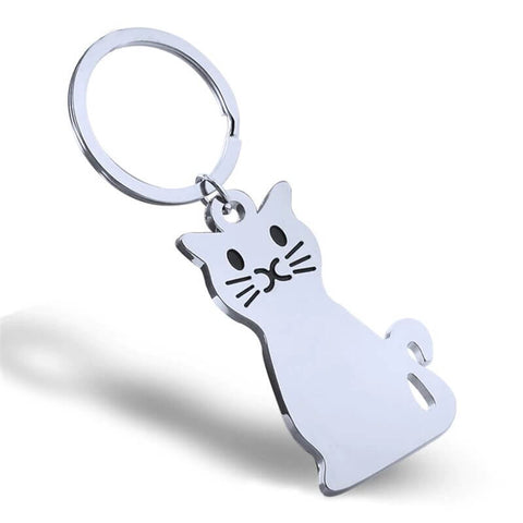porte cle chat metallique