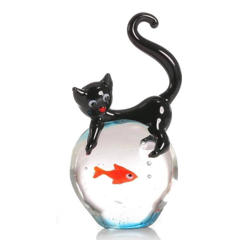 Statuette chat en verre Aquarium