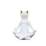 statuette chat blanc yoga assis