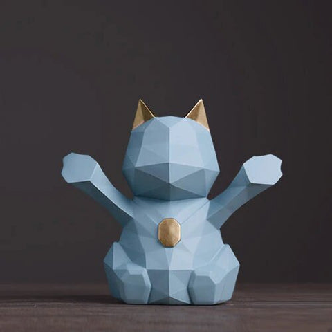 statuette chat origami blue
