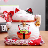 statuette chat chinois blanc