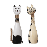 statuette chat en bois couple