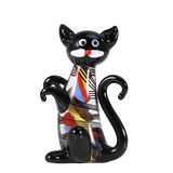 statuette chat en verre multicolore