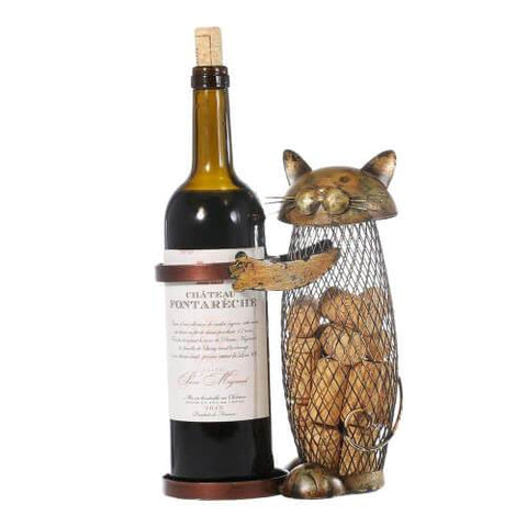 statuette chat support bouteille