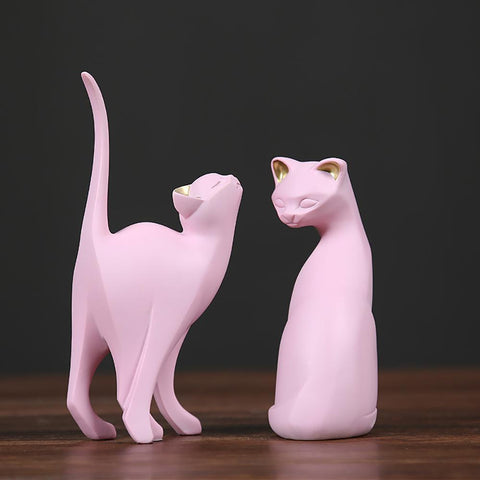 statuettes chat rose