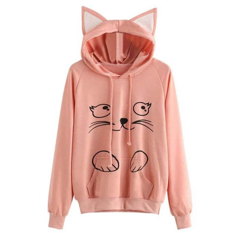 sweat capuche oreille chat rose