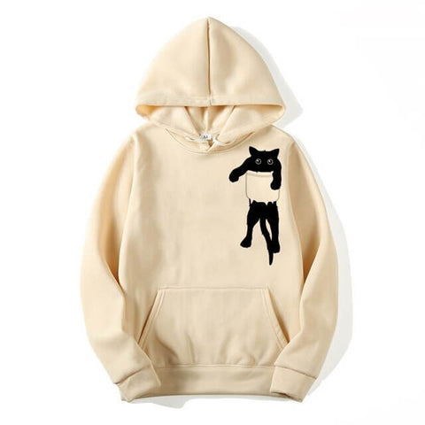 sweat chat poche beige