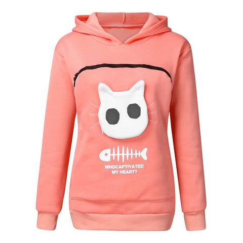 sweat porte chat rose