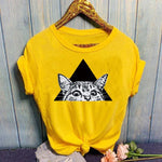 t shirt chat jaune