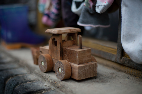 A simple and easy to build wooden train toy for preschooler looks like this