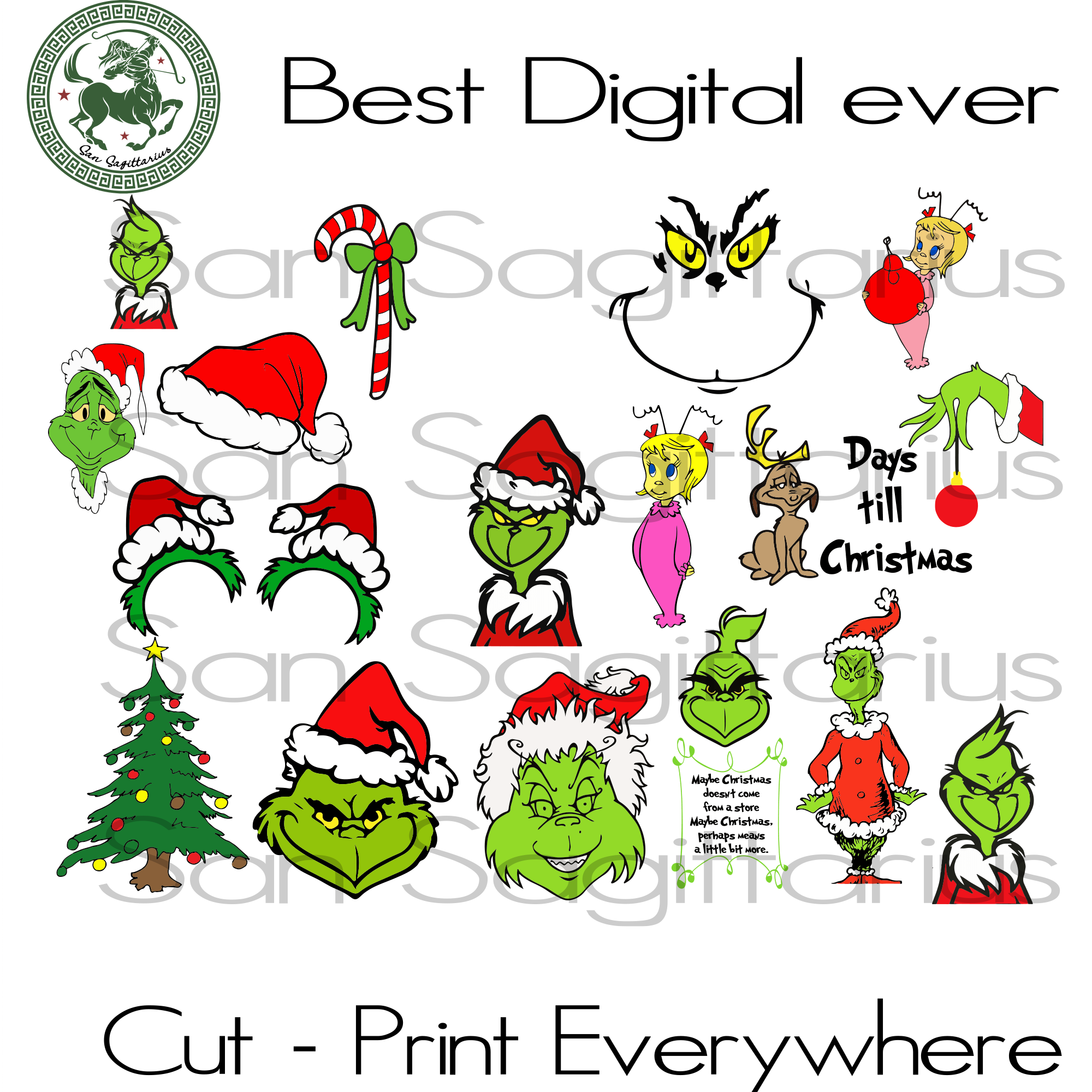 Grinch svg bundle, grinch hat, grinch face, grinch santa hat, grinch hand ornaments, the grinch, santa hat, christmas svg, christmas gifts, merry christmas, christmas holiday, funny christmas