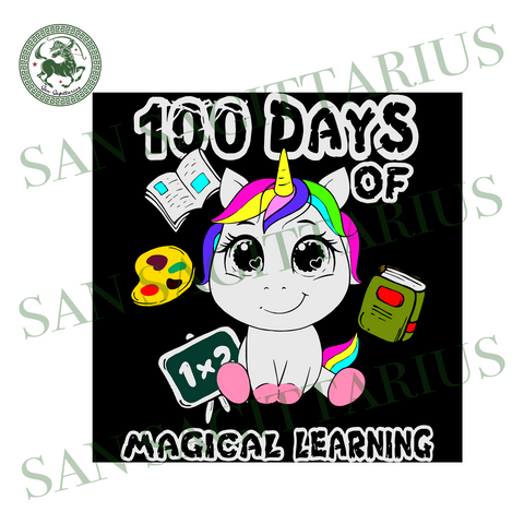 100 Days Of Magical Learning, Back To School Svg, Happy 100th Day Of School,100th Day Of School Svg,Happy 100th Day Of School,100th Day Of School Svg, Unicorn Svg, Cute Unicorn, 100 Days Of S