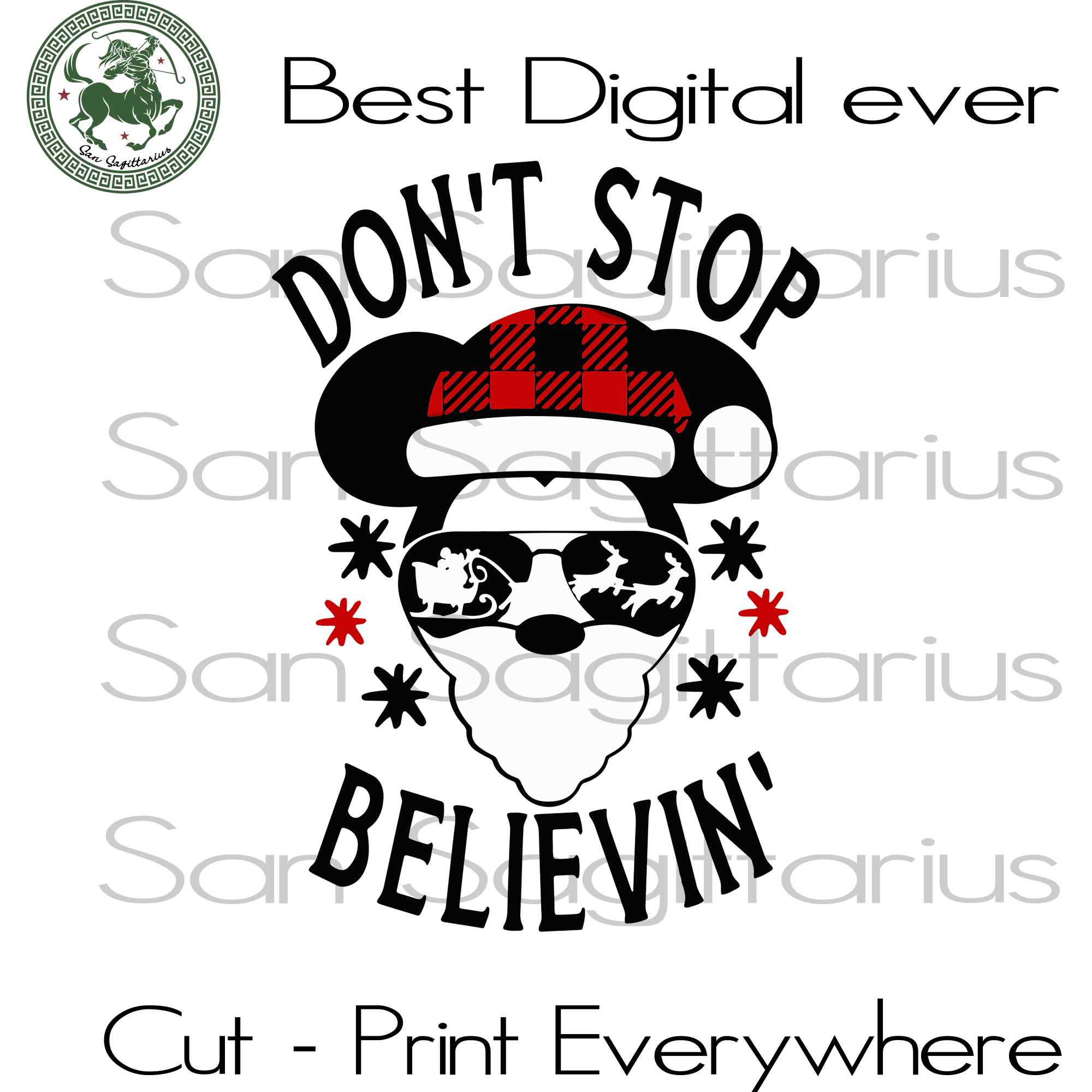 Don't Stop Believin', Christmas Svg, Christmas Gifts, Santa Claus, Merry Christmas, Christmas Holiday, Christmas Party, Funny Christmas, Christmas Tree,  Disney Christmas, Xmas Gift, Chri
