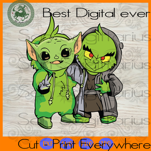 Grinch Baby Yoda Star Wars Best Friends Bestie Gifts SVG Files For Silhouette Cricut Files Instant Download | San Sagittarius