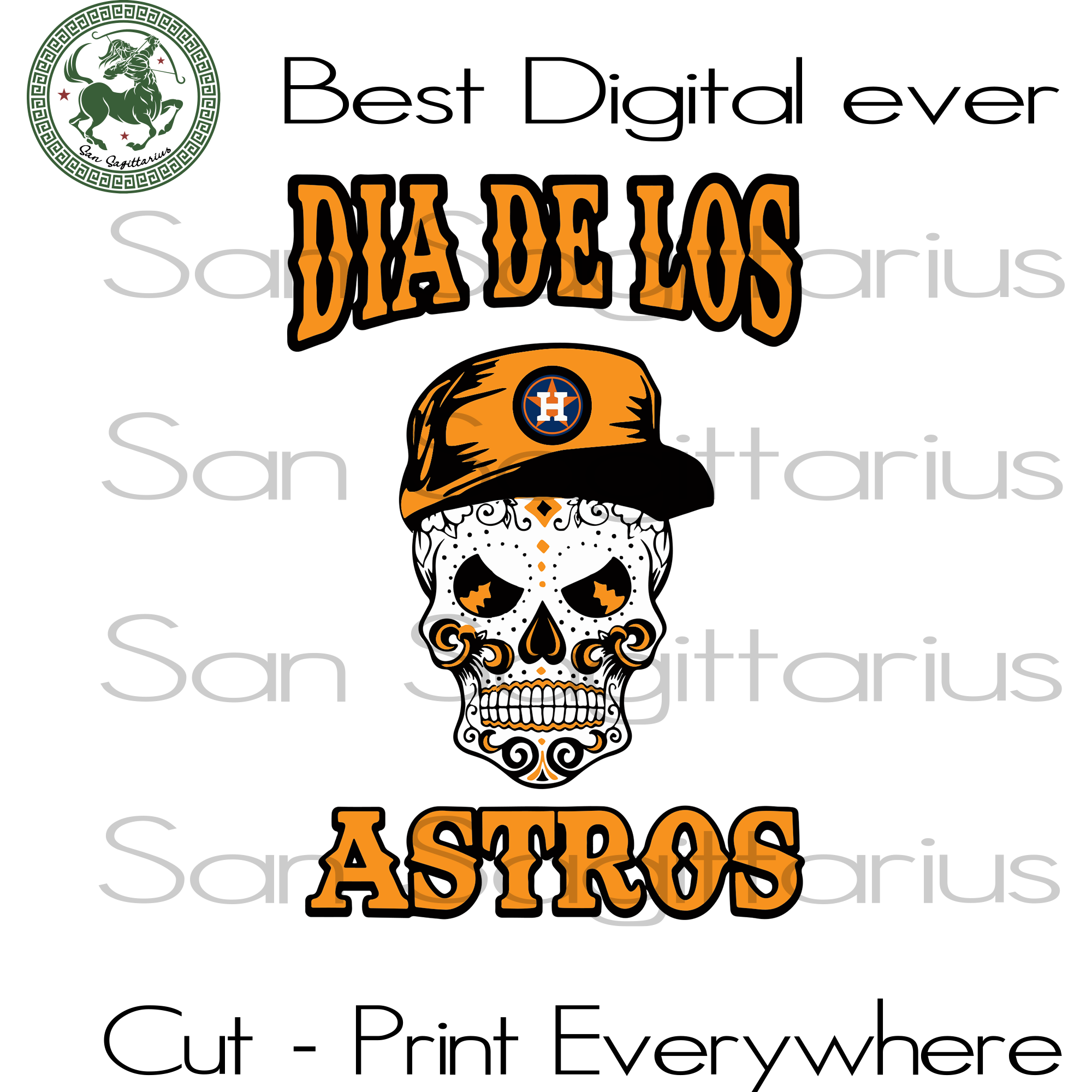 Houston Astros Skull SVG Files For Silhouette, Cricut Files, SVG DXF EPS PNG Instant Download