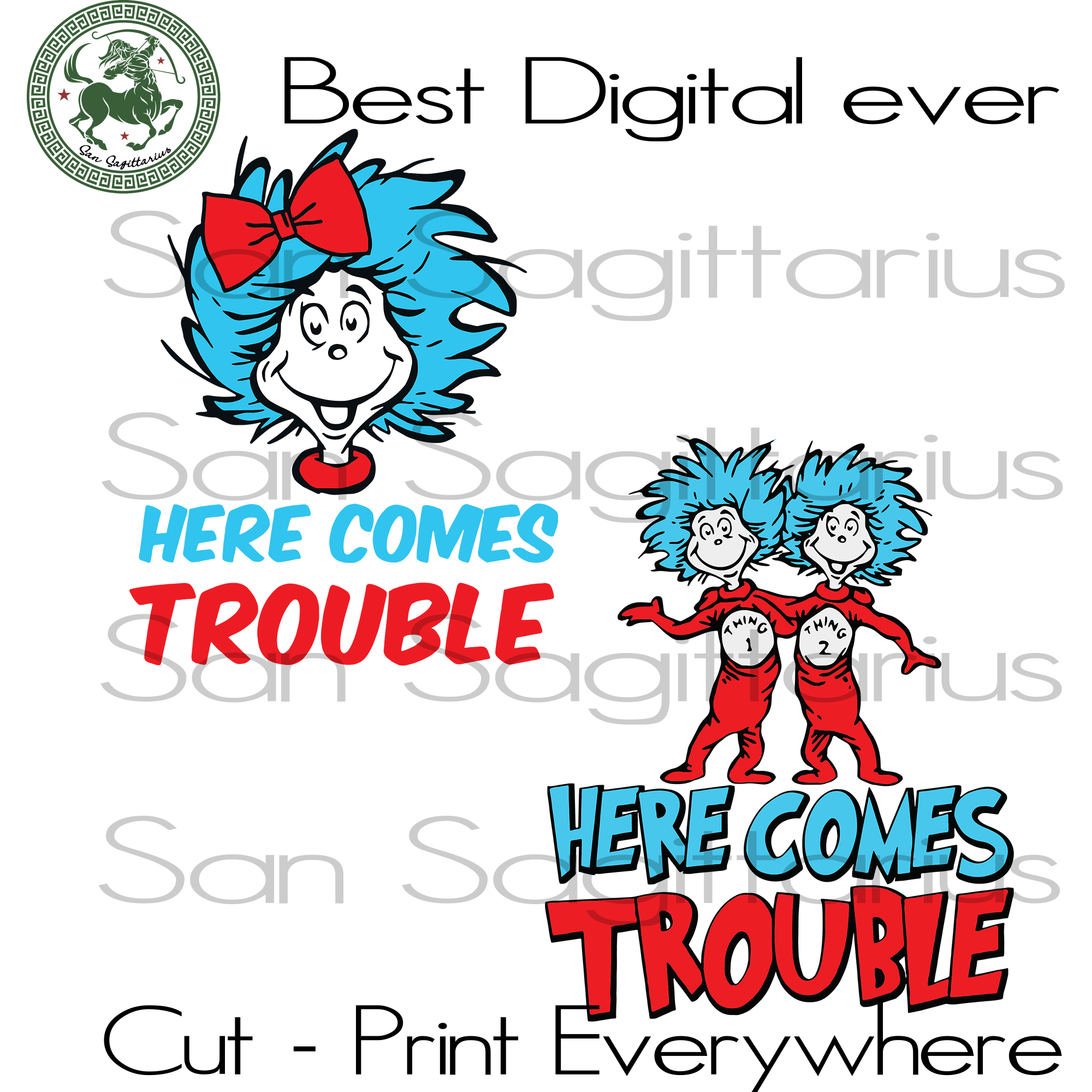Here Come Trouble, Dr Seuss svg, Dr Seuss Teacher Gift, Thing 1 Thing 2, Miss Thing Svg Files For Cricut Silhouette Instant Download | San Sagittarius