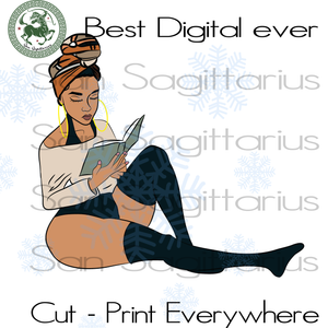 Sexy black girl reading book SVG Files For Cricut Silhouette Instant Download | San Sagittarius