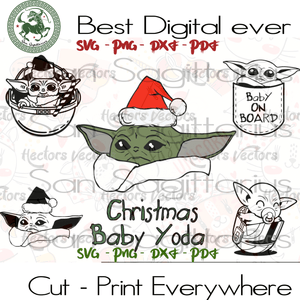 Baby Yoda Star Wars Bundles SVG Files For Cricut Silhouette Instant Download