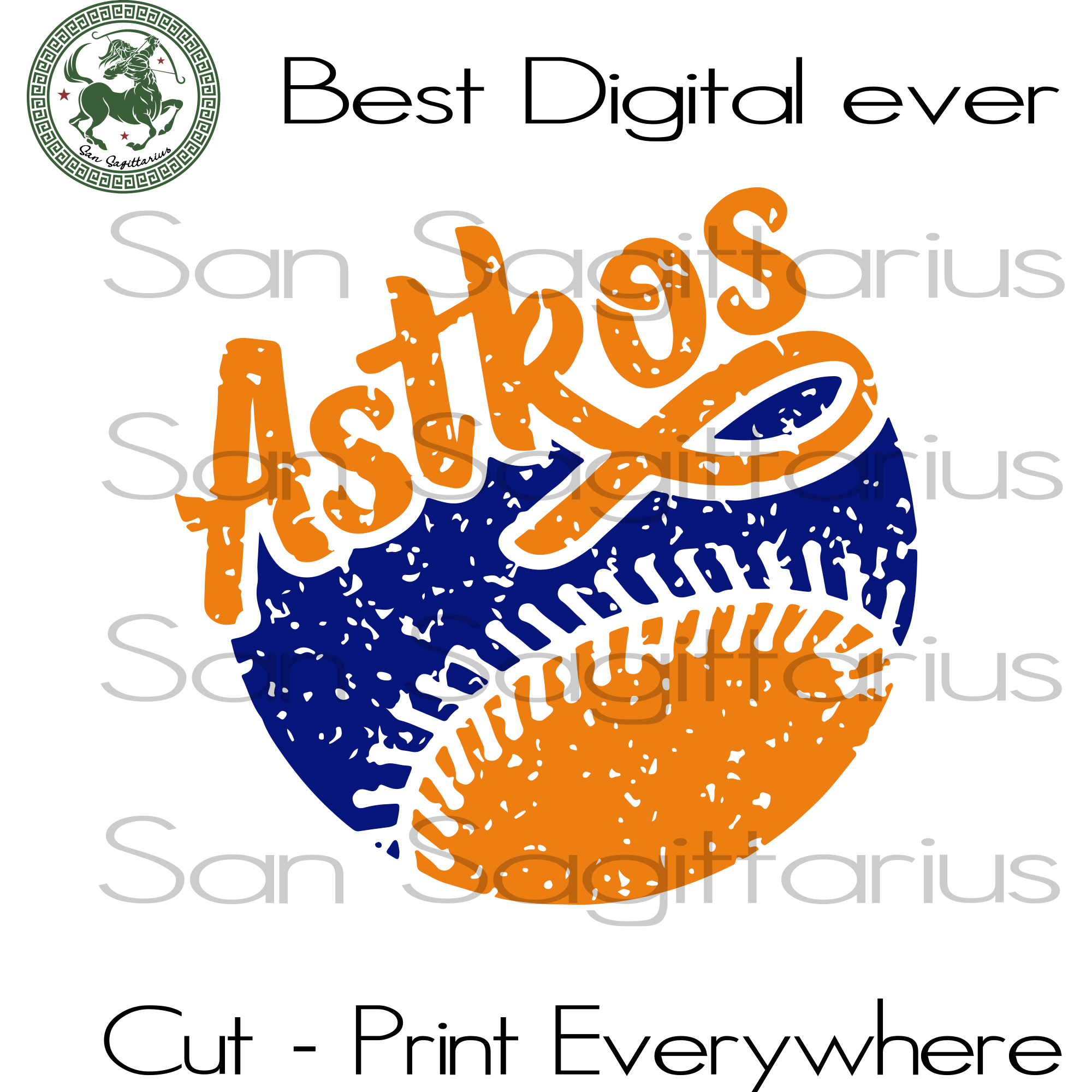 Houston Astros MLB Baseball Gifts SVG Files For Silhouette Cricut Instant Download | San Sagittarius