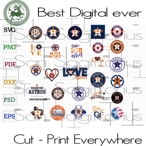 Houston Astros MLB Baseball Logo Bundle SVG Files For Silhouette, Cricut Files, SVG DXF EPS PNG Instant Download