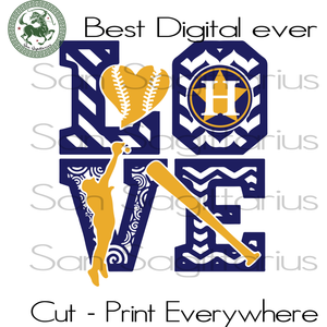 Love Houston Astros MLB Baseball Gifts SVG Files For Silhouette, Cricut Files, SVG DXF EPS PNG Instant Download