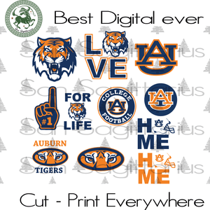 Auburn Tigers bundle SVG Files For Silhouette, Cricut Files, SVG DXF EPS PNG Instant Download