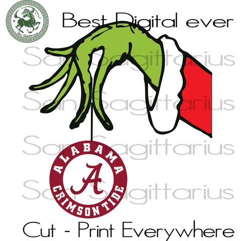 Alabama Crimson Grinch SVG Files For Silhouette Cricut Files, SVG DXF EPS PNG Instant Download