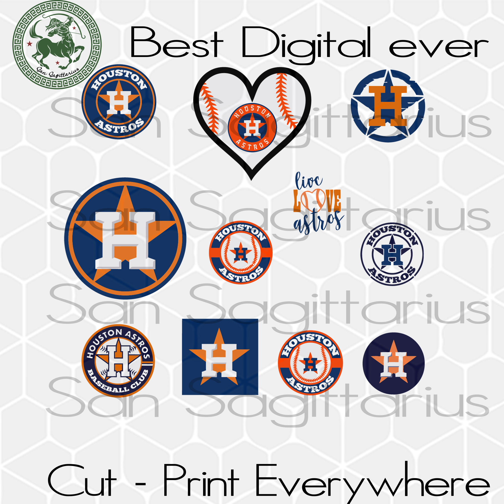Houston Astros MLB Baseball Logo Bundle SVG Files For Silhouette Cricut Instant Download | San Sagittarius