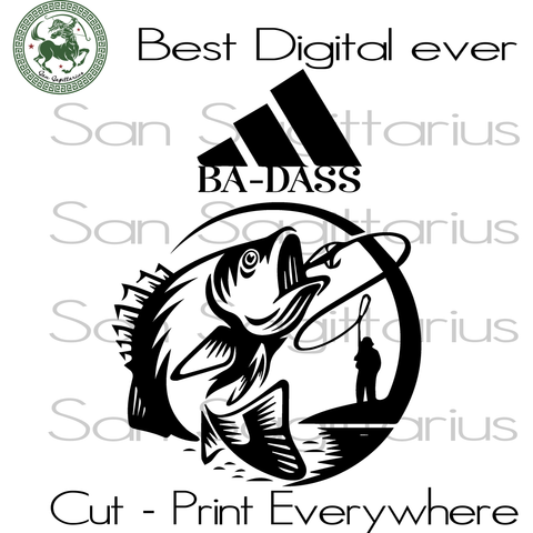 Badass, Fishing Dad Svg, Fishing Lover, Fathers Day Gift, Father gift svg, Daddy svg, dad svg, Fisherman, Gift For Dad, Adidas Logo SVG Files For Cricut Silhouette Instant Download | San Sagi