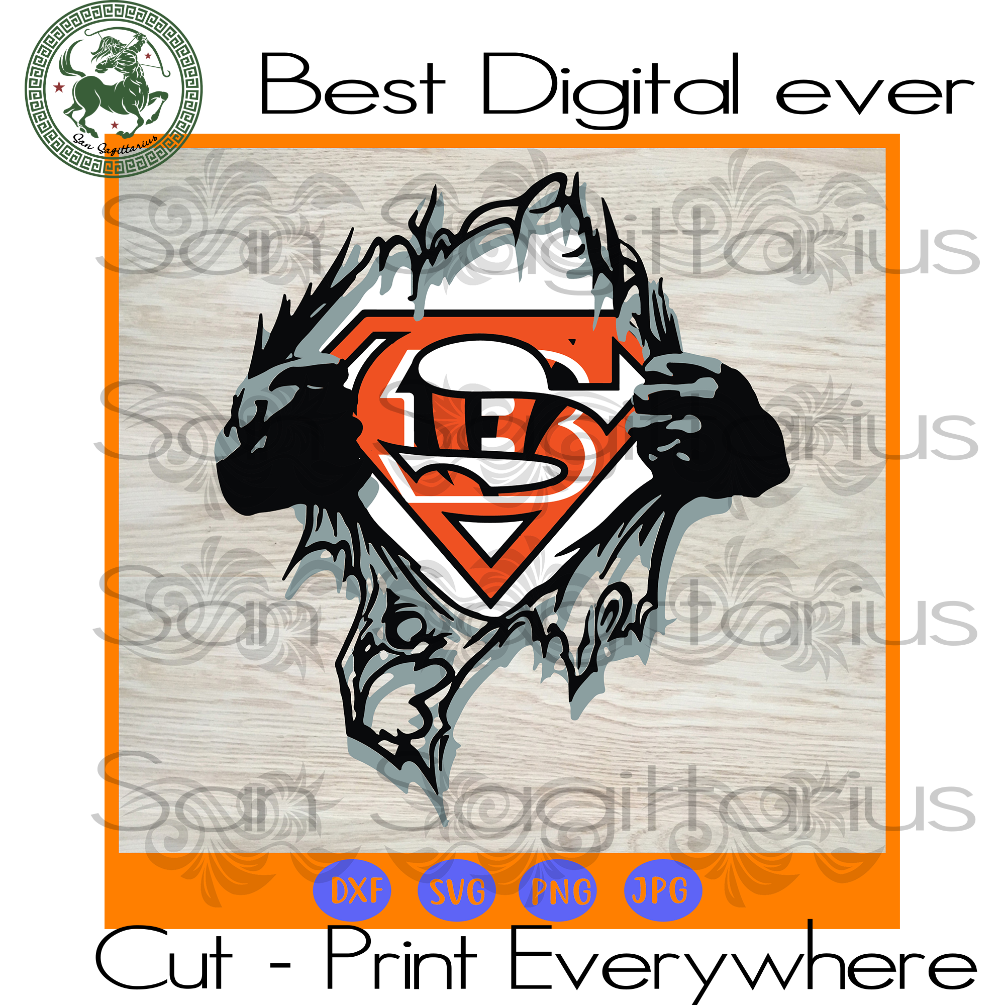 Cincinnati Bengals NFL Logo Superman, Cincinnati Bengals Football, Football Mom, Cincinnati Bengals Girl, Football Gifts SVG Files For Cricut Silhouette Instant Download | San Sagittarius