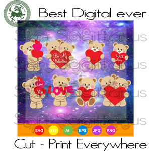 Bears Valentine's Day, Valentine Hearts, Valentine Gifts Ideas, Valentines Day SVG Files For Cricut Silhouette Instant Download | San Sagittarius