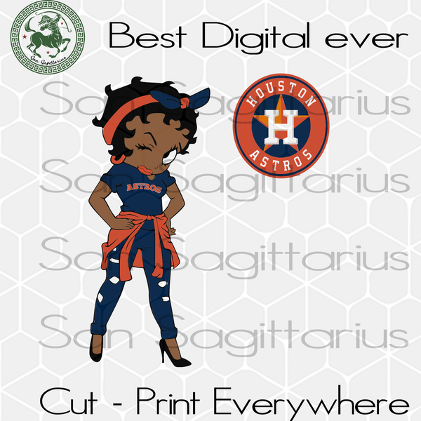 Betty Boobs Houston Astros MLB Baseball Girls Gifts SVG Files For Silhouette Cricut Instant Download | San Sagittarius