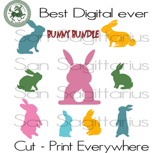 Bunny Bundle Svg, Easter's Day Gift, Bunny Svg, Rabbit SVG Files For Cricut Silhouette Instant Download | San Sagittarius