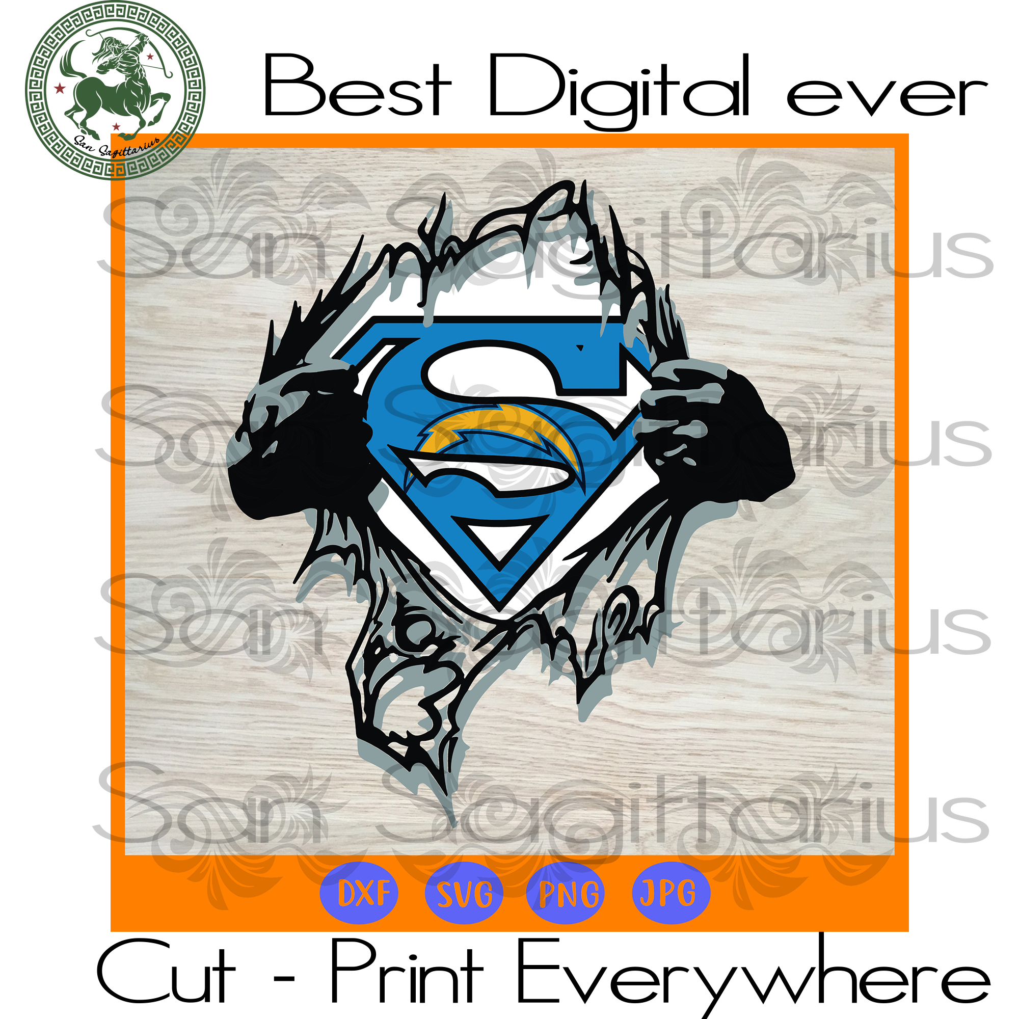 Los Angeles Chargers NFL Logo Superman SVG Files For Cricut Silhouette Instant Download | San Sagittarius
