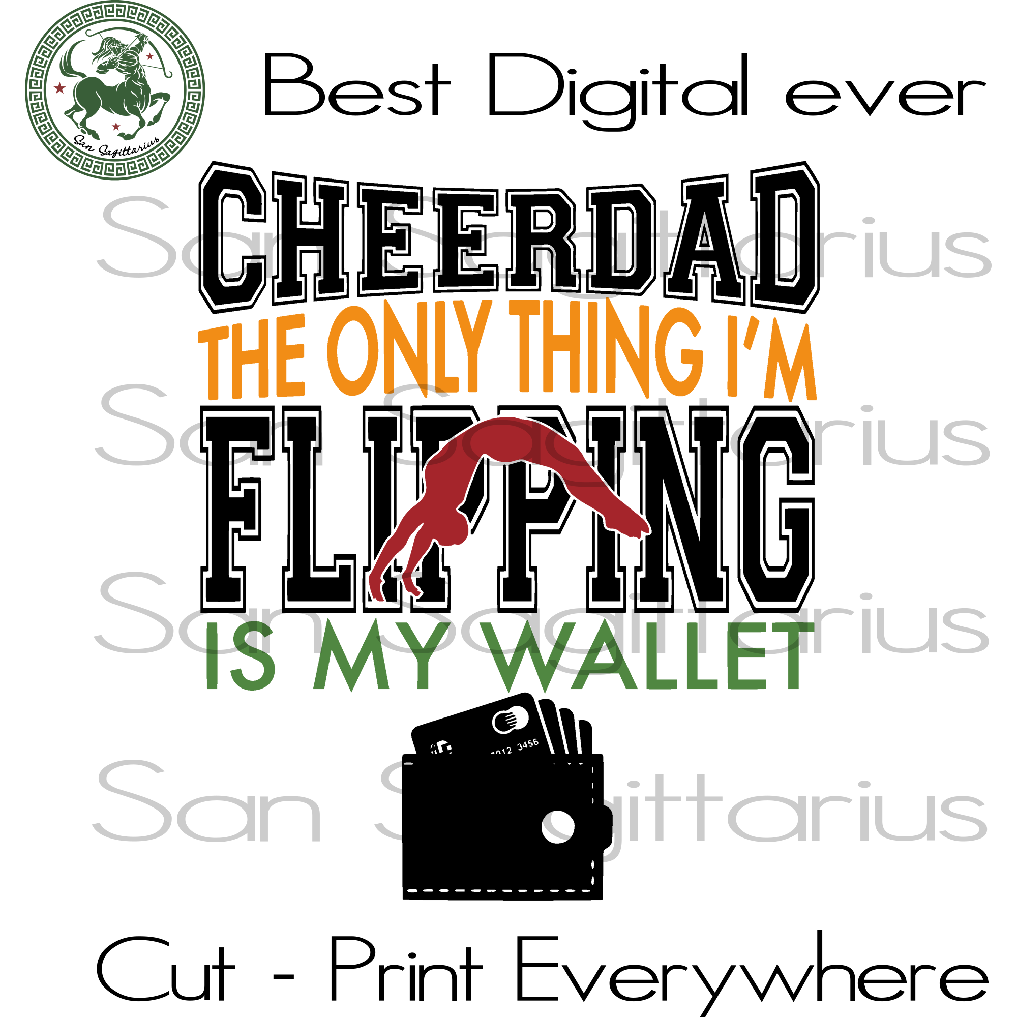 Cheer Dad, Dad Gifts Svg, Daddy, Family Gift, Birthday Dad, Fathers Day SVG Files For Cricut Silhouette Instant Download | San Sagittarius