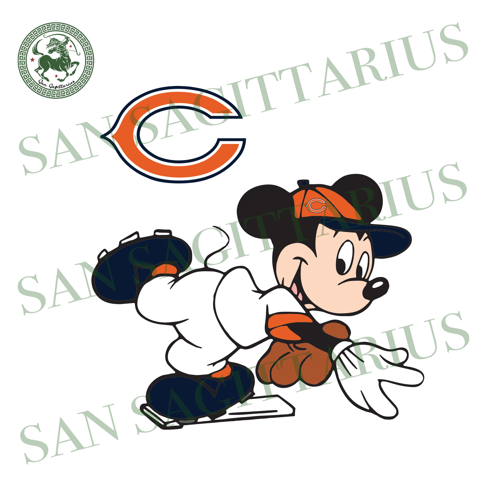 Chicago Bears Logo And Mickey, Sport Svg, NFL Football Svg, NFL Svg, NFL Sport, Chicago Bears Svg, Chicago Bears, Chicago Bears NFL Lover, Chicago Bears NFL Svg, Football Svg, Football Lover