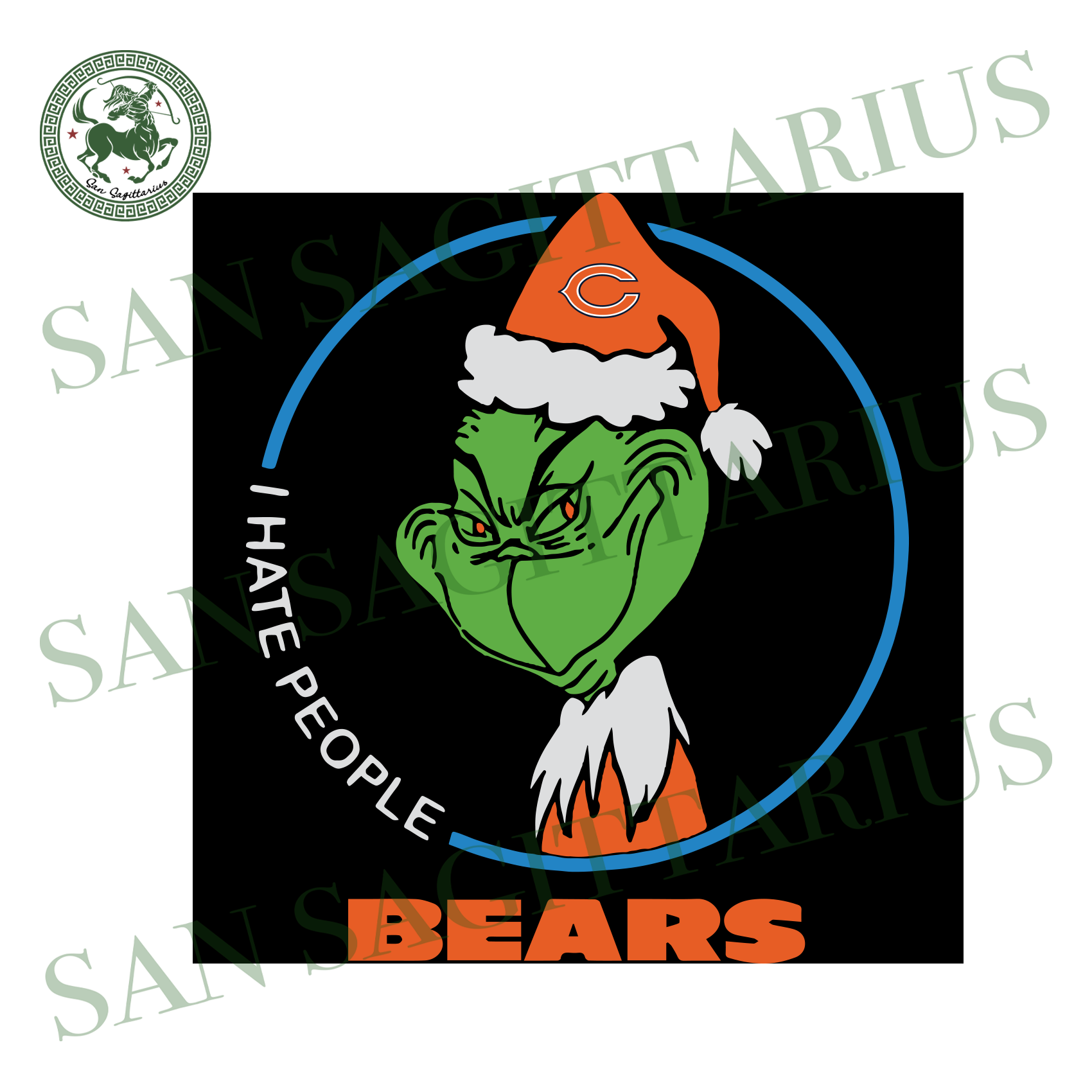 Chicago Bears Logo With Grinch, Sport Svg, NFL Football Svg, NFL Svg, NFL Sport, Chicago Bears Svg, Chicago Bears, Chicago Bears NFL Lover, Chicago Bears NFL Svg, Football Svg, Football Lover