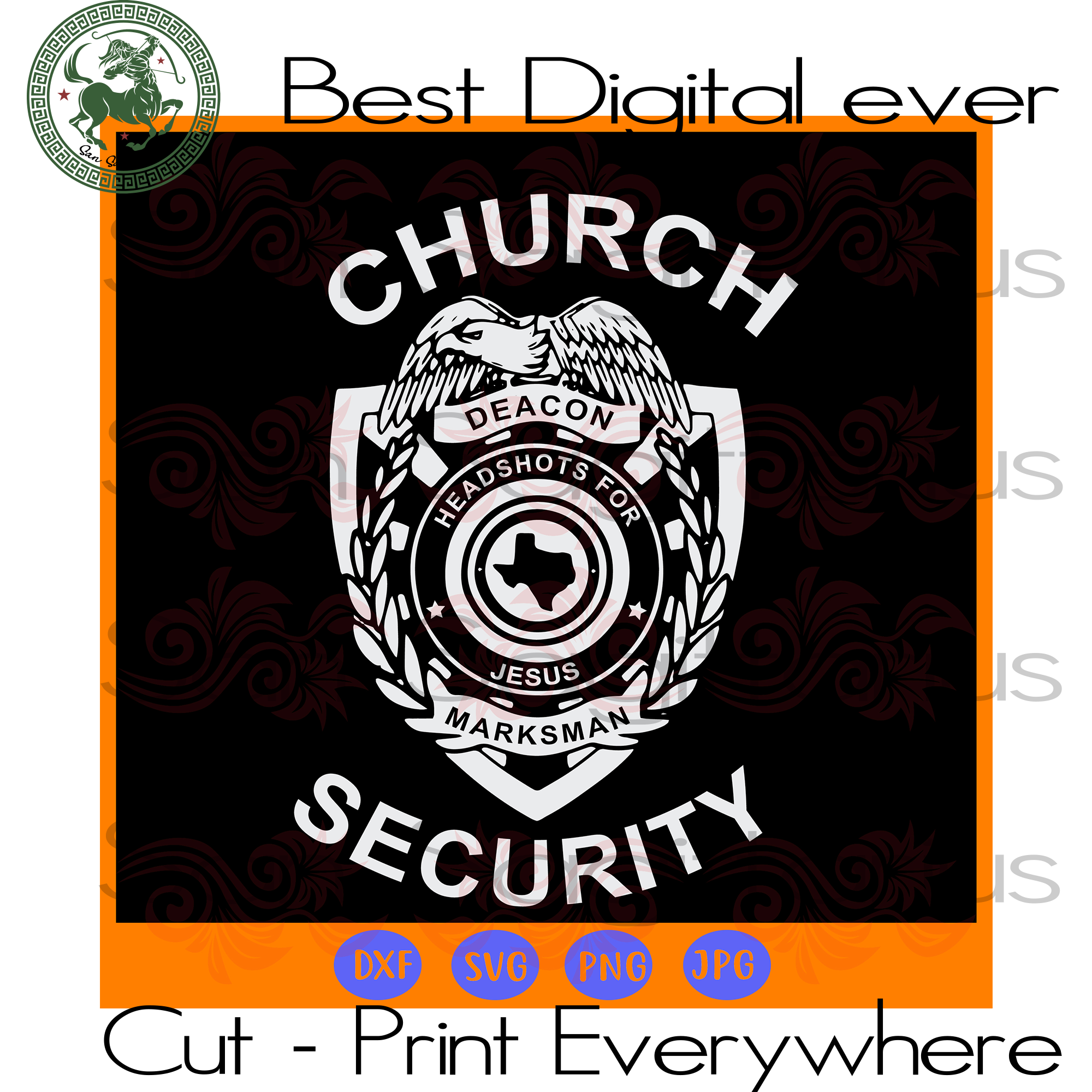 Church Security Deacon Headshots For Jesus Texans Map Lover SVG Files For Cricut Silhouette Instant Download | San Sagittarius