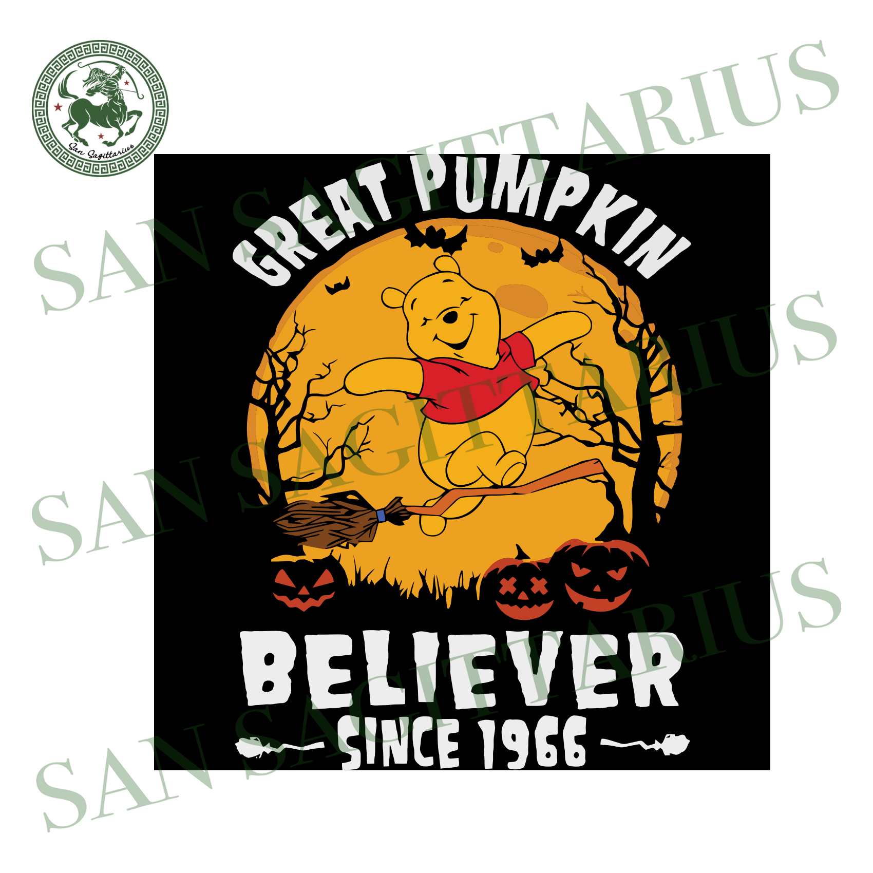 Cute Bear Great Pumpkin Believer Since 1966, Halloween Svg, Happy Halloween, Halloween Gift, Halloween Day, Pumpkin Svg , Pooh Bear Svg, Cute Pooh, Bear Svg, Cute Bear, Funny Bear, Cartoon Sv