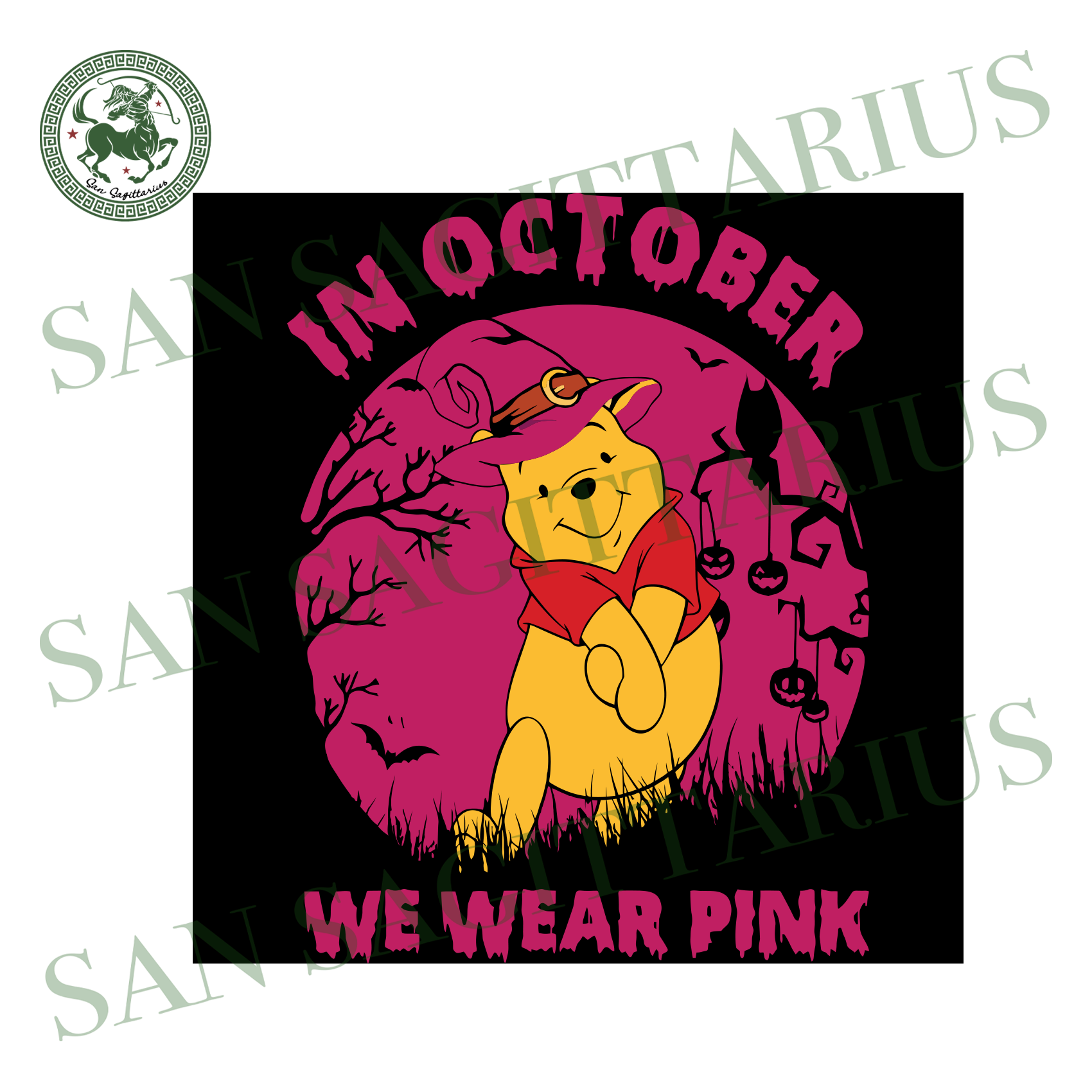 Cute Pooh In October We Wear Pink, Halloween Svg, Happy Halloween, Halloween Gift, Halloween Shirt, Halloween Icon, Halloween Vector, Nightmare Svg, Pooh Bear Svg, Cute Pooh Bear
