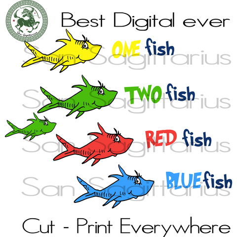 Read Fish Yellow Fish Blue Fish, One Fish Two Fish, Dr Seuss Cut Files, Dr Seuss Birthday Party SVG Files For Silhouette Cricut Files Instant Download | San Sagittarius