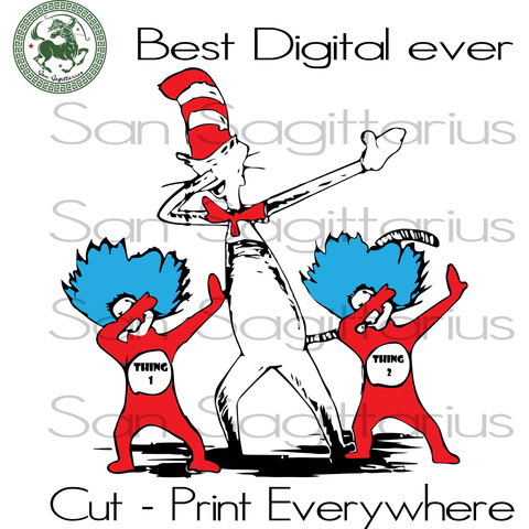 Dr Seuss Svg, Thing 1 Thing 2, Dr Seuss Cut Files, Dr Seuss Birthday Party, Kids Gifts SVG Files For Silhouette Cricut Files Instant Download | San Sagittarius